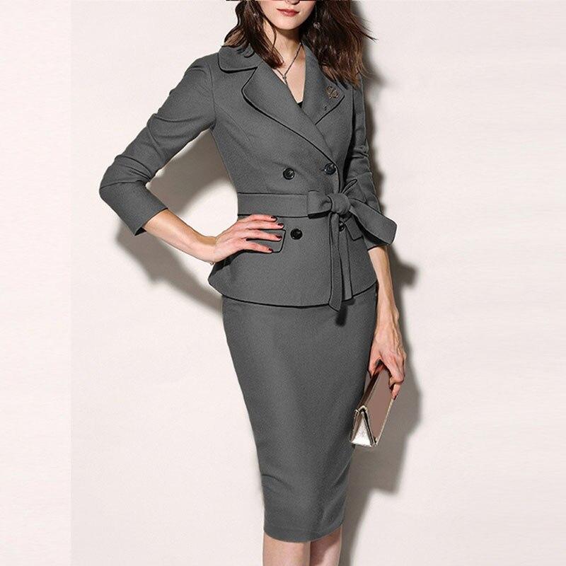 Women's Office Lapel Long Sleeve Slim Two Button Blazer Coat Female Fashion Hip Wrap Skirt Suits
