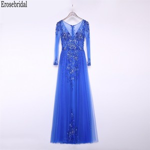 Image 1 - Erosebridal Royal Blue Prom Dress Long Sleeve 2020 New Fashion Elegant Long Formal Evening Gown Party Luxury Beaded Prom Gown
