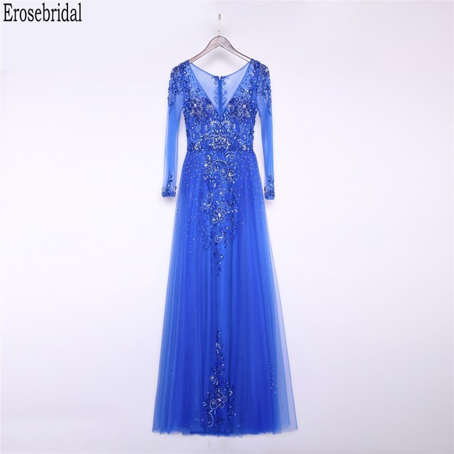 Erosebridal Royal Blue Prom Dress Long Sleeve 2020 New Fashion Elegant Long Formal Evening Gown Party Luxury Beaded Prom Gown