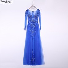 Erosebridal vestido azul real de fiesta, manga larga, elegante, largo, Formal, de noche para fiesta, con cuentas de lujo, novedad de 2020