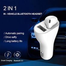 Универсальная автомобильная bluetooth-гарнитура BT 5,0 зарядное устройство Автоматическое Сопряжение сенсорное управление беспроводные наушники 2 в 1 Наушники Bluetooth