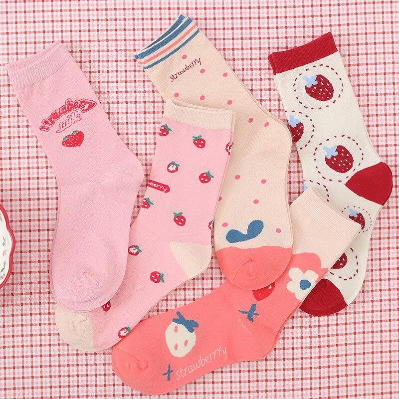 Japanese Kawaii Strawberry Letter Cow Ankle Socks Cute Lovely Girls Lolita Sweet Fruit Patterned Short Socks