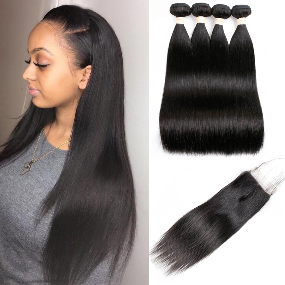 Sapphire Malaysian Hair Bundles With Closure Straight Hair Bundles With Closure Natural Human Hair Bundles With Closure Non Remy