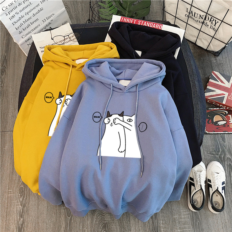 2020 Spring Autumn Hoodies Women Hooded Harajuku Thicker Plus Velvet Cartoon Patchwork Casual Girl Sweatshirts Womens Pullovers