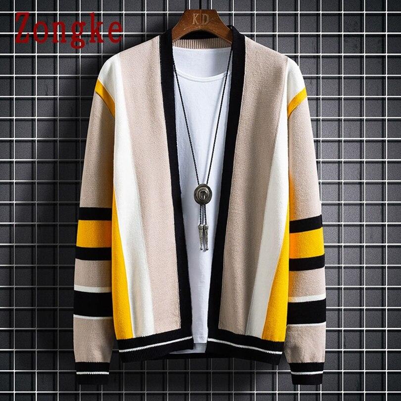 Zongke полосатые мужские кардиган вязаный Топ осень зима мужской свитер вязаный мужская одежда 2021 Новое поступление M 3XL