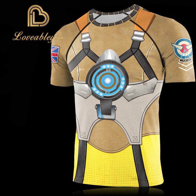Hot Sale Gaming <font><b>OW</b></font> 3D Digital Printing Tignt <font><b>T</b></font>-<font><b>shirt</b></font> Tracer D.Va Jesse Mccree Cosplay Costume Women Men Top Clothing New image