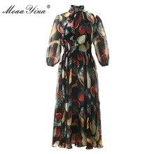 MoaaYina Fashion Designer dress Spring Summer Women Dress Bow collar Fruit Print Elegant Chiffon Runway Dresses