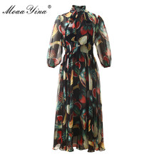 فستان بتصميم عصري من MoaaYina لربيع وصيف فستان نسائي بياقة على شكل فيونكة فساتين أنيقة مطبوعة من الشيفون