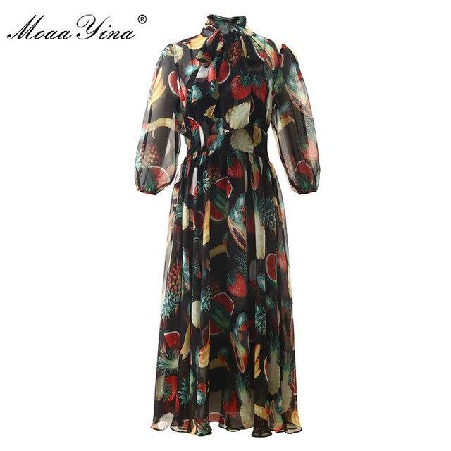 MoaaYina ファッションデザイナードレス春夏の女性の襟フルーツプリントエレガントなシフォン滑走路ドレス