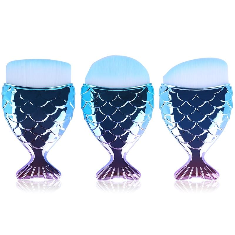 1 pcs Cosmetic Fish Tools Kit Powder Face Make Up Brushes Professional Blush brush Tail Mermaid Holder Shape Makeup Foundation