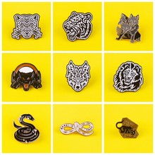 Punk Animal Brooch Wolf Badges on Backpack Set Badges for Clothes Enamel Pins for Backpacks Clothes Lapel Pin Badge Accessories(China)