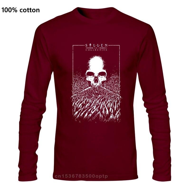Sullen sanat toplu erkek çim kafatası dövme stil T-Shirt gotik siyah Tee