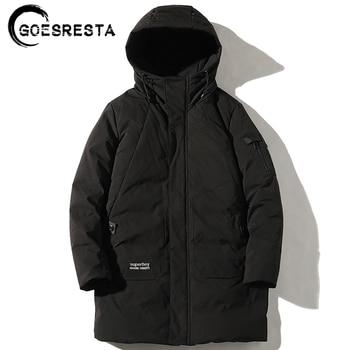 GOESRESTA 2020 Tide Brand Men's Down Jacket 90% White Goose Down Long Thickened Fashion Wild Street Winter Warm Down Jacket Men goesresta 2020 tide brand men down jacket 90