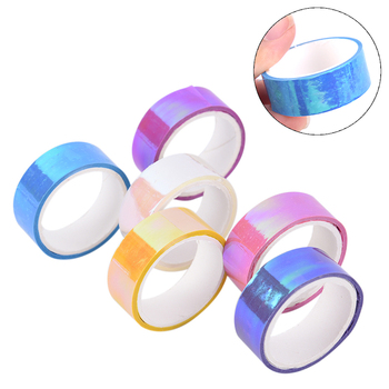 1pcs 5m Rhythmic Gymnastics Decoration Holographic Prismatic Glitter Tape Hoops Stick image