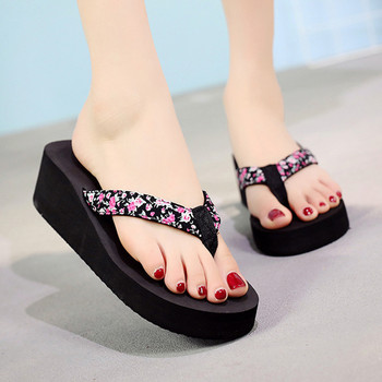 Women Slippers Fashion Summer Ladies Flowers Bohemian Style wedge high-heel Slippers Casual Beach Sandals Shoes #30 image