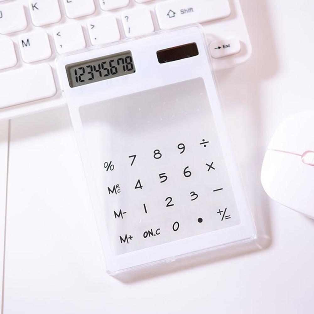 Полезные ЖК-дисплей 8-значный Экран ультра тонкий прозрачный Ясно солнечной CalculatorStationery научный калькулятор для офиса - Цвет: F