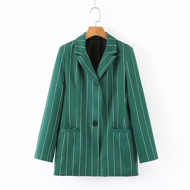 Fashion 1pcs Womens Blazers 2019 Autumn New Striped One Button Suit Straight Casual Trousers Blazer Mujer Blaser Feminino New