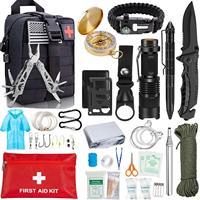 EDC Survival Kit Gear Tool Kit 47 IN 1 Emergency SOS Survival Tools Emergency Blanket Tactical Pen Flashlight Pliers Wire Saw