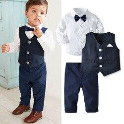 2020 menino vestido terno roupa formal da criança do bebê cavalheiro colete camisa calças estilo britânico anfitrião banquete vestido da criança do bebê menino 0-6 y