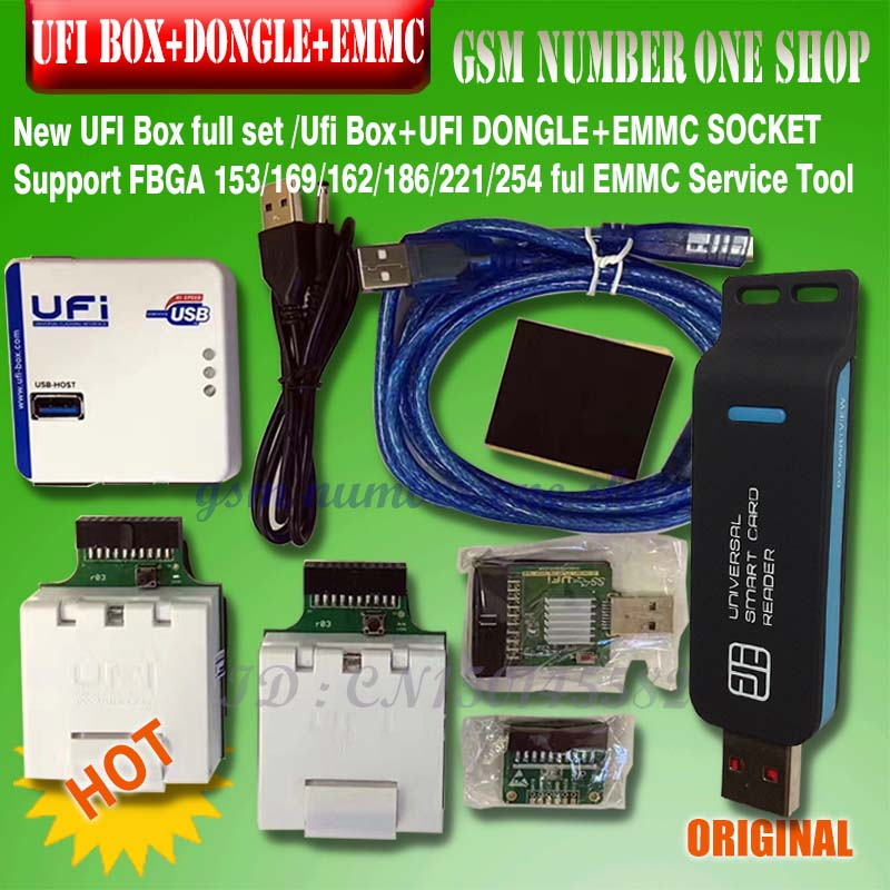 New 2020 Original UFI Box Full Set /Ufi Box+UFI DONGLE+EMMC SOCKET Support FBGA 153/169/162/186/221/254 Ful EMMC Service Tool