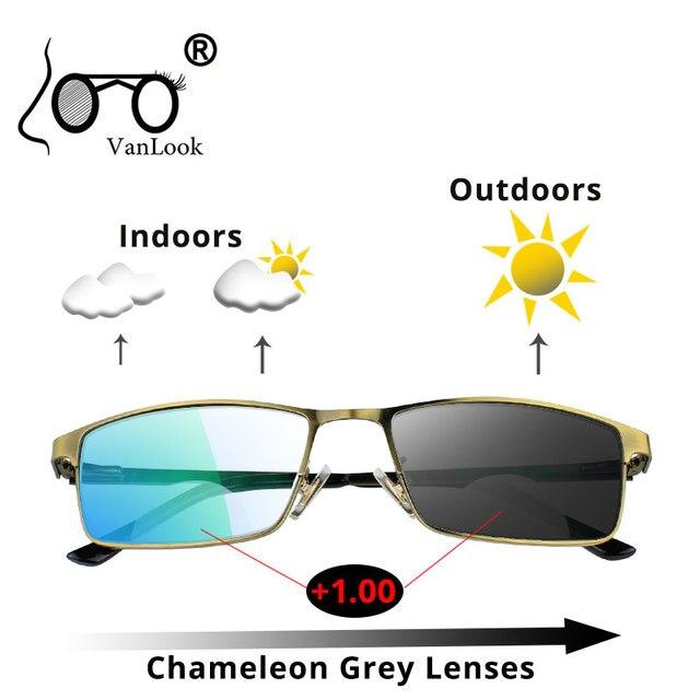 Bifocal óculos de leitura photochromic óculos de sol camaleão lente moldura para homem mulher óculos de visão + 1.5 2 2.5