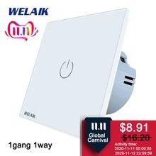 WELAIKผลิต EU 1gang1way Wall Touch สวิทช์คริสตัลแก้วแผง สวิทช์ อัจฉริยะ สวิทช์ไฟ สมาร์ทสวิทช์A1911CW