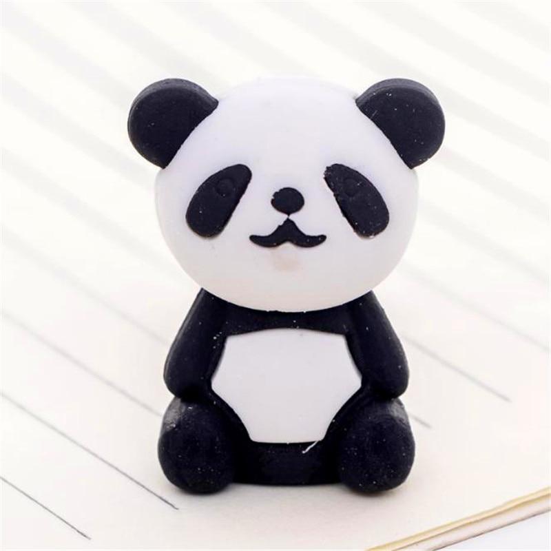 1pc Cute Cartoon Eraser Lovely Panda Eraser Children Stationery Gift Prizes Kawaii School Supplies Papelaria