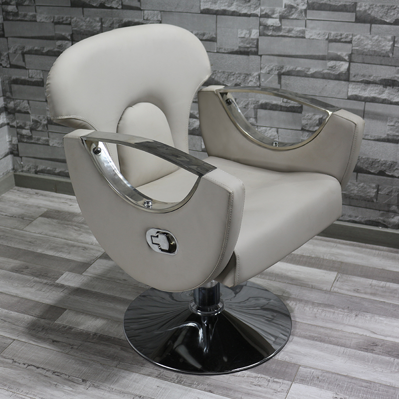 Nordic Fashion Barber Shop Chair Net Red Chair Stainless Steel Handrail Modern Minimalist Can Put Down The Hair Salon Chair