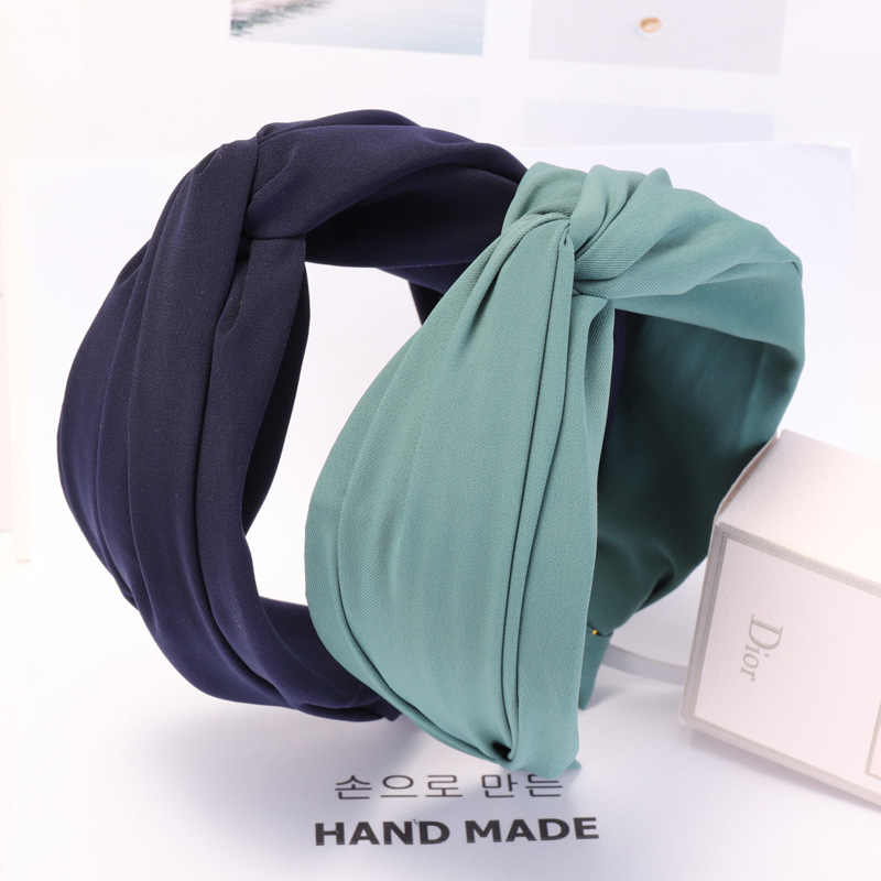 Solid Color Cloth Cross Hairband Headband Turban for Women Lady Wide Plastic Hair Hoop Bezel Hair Bands Accessories