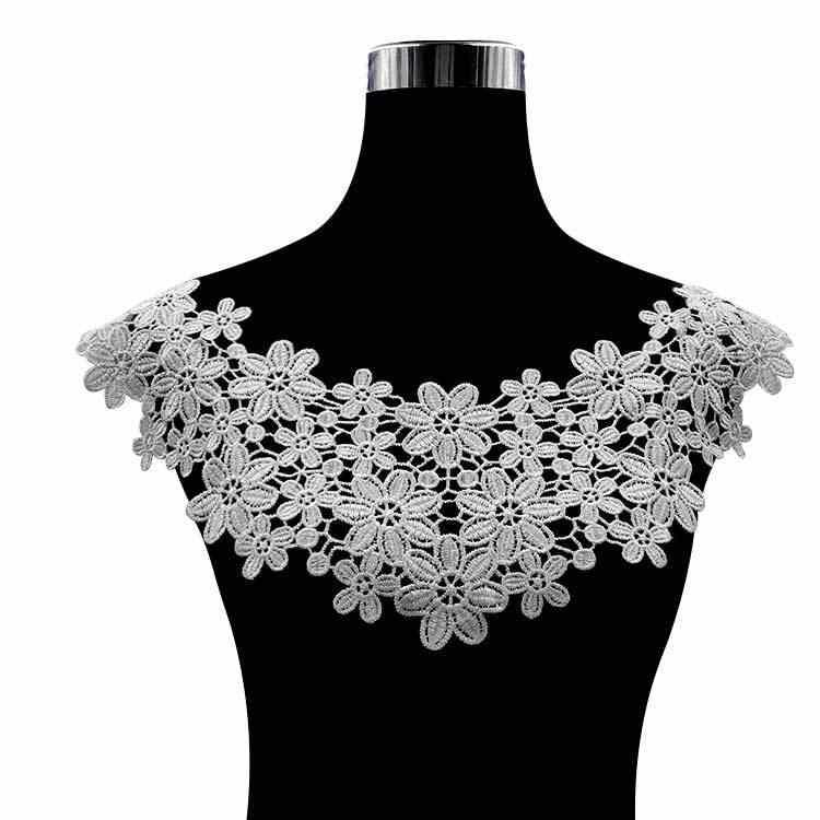 HOT black White gold cotton embroidery flower lace collar Fabric Sewing Applique DIY guipure ribbon trim neckline wedding decor
