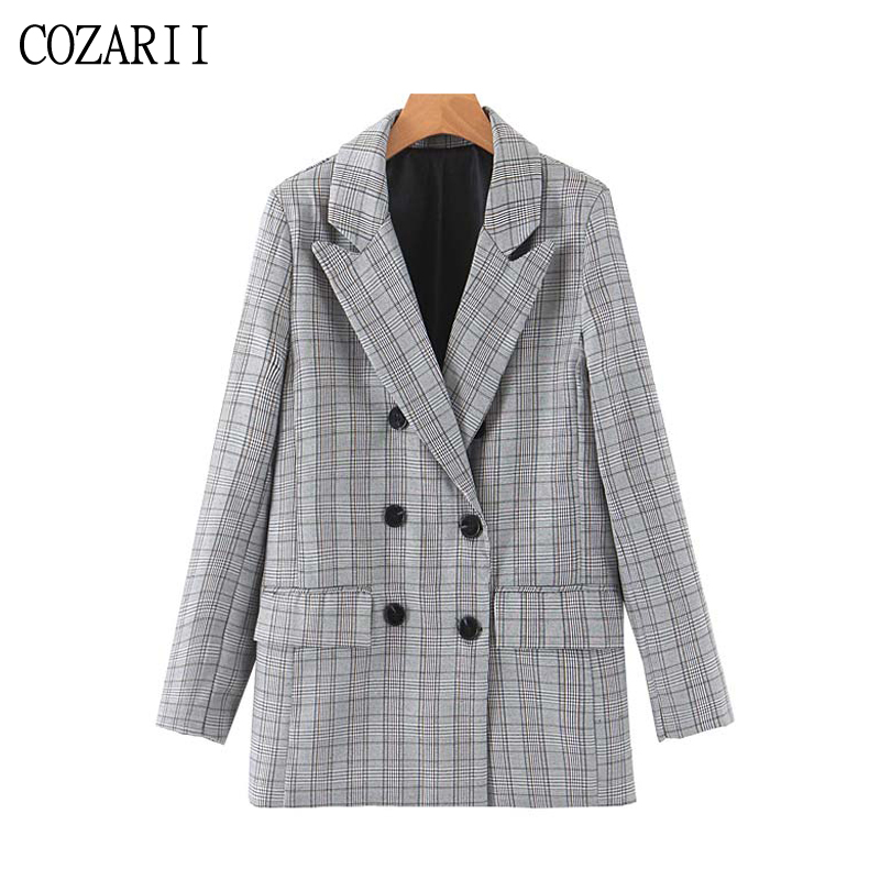 Vintage Stylish Office Lady Double Breasted Plaid Blazer Coat Women 2019 Fashion Notched Collar Long Sleeve Outerwear Chic Tops