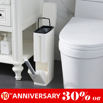 Cubo de basura de plástico UNTIOR 6L con cepillo de inodoro cubo de basura multifunción Herramientas de limpieza de baño