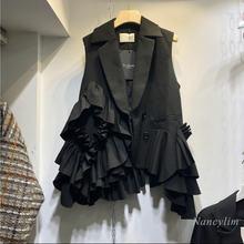 Осень 2020 Новинка женский Многослойный черный жилет в Корейском