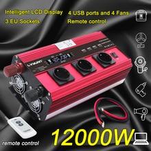 12000 Вт ЕС розетка lcd-трансформатор Адаптер зарядного устройства инвертор питания DC12V/24 В к AC 230 В с 4Fan 4usb пульт дистанционного управления красный