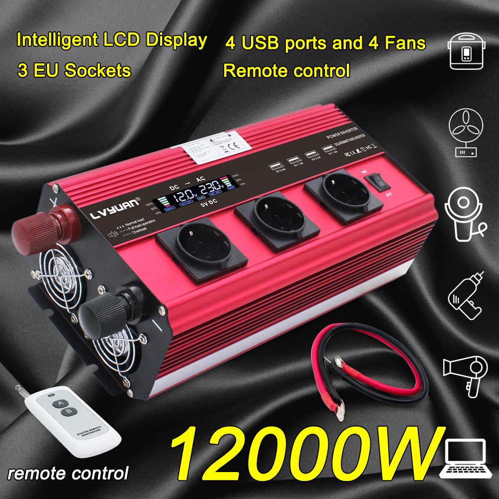 12000W EU socket LCD Transformer adapter charger converter power inverter DC12V 24V to AC 230V with 4Fan 4usb remote control Red