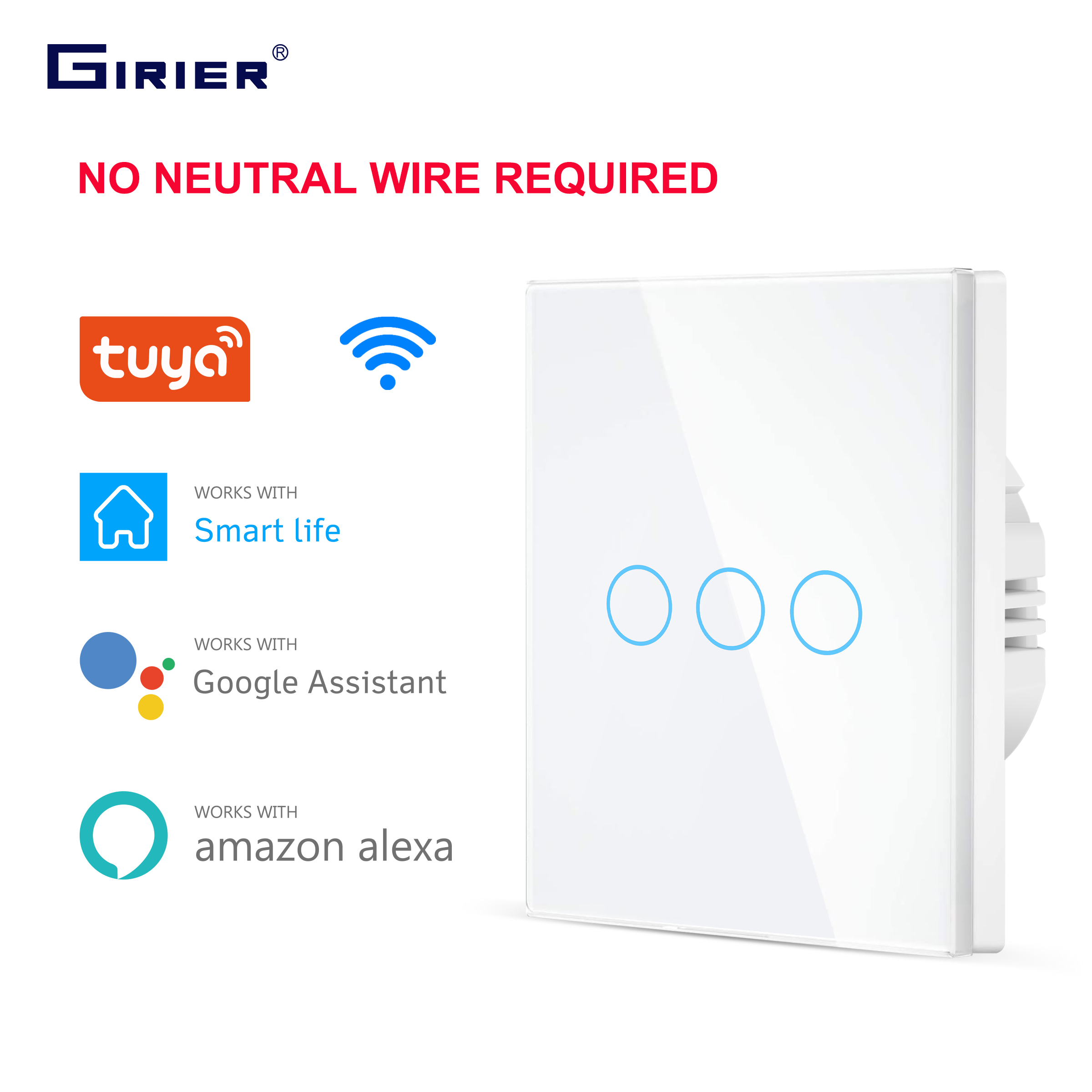 Wifi Wall Touch Switch EU No Neutral Wire Required Smart Light Switch 1 2 3 Gang 220V Tuya Smart Home Support Alexa Google Home 1