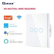 WIFIสวิทช์แบบสัมผัสEUไม่มีNeutral Wireต้องใช้สวิทช์สวิทช์ 1 2 3 GANG 220V Tuyaสมาร์ทบ้านสนับสนุนAlexa Google Home
