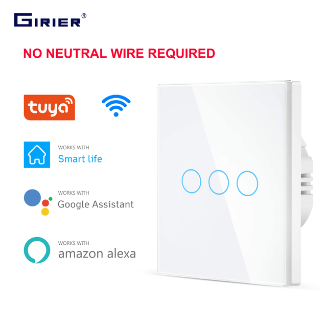 Wifi Wall Touch Switch EU No Neutral Wire Required Smart Light Switch 1 2 3 Gang 220V Tuya Smart Home Support Alexa Google Home