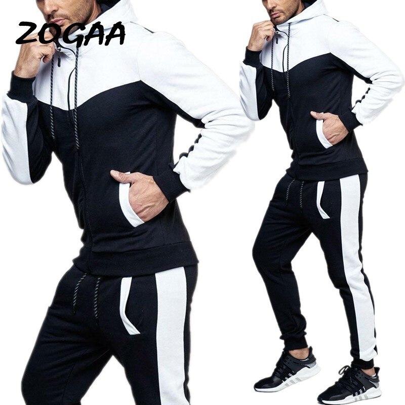 ZOGAA Men's Tracksuit Hoodies+Sweatpants 2 Piece Sports Suit Large Size Fashion Sportswear Suit Casual Tracksuit Men