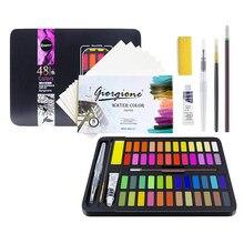 Conjunto da pintura da aguarela, caixa da pintura da aguarela de 48 cores com 8 papéis da cor da água, 7 canetas recarregáveis da escova da água, 1 aguarela branca