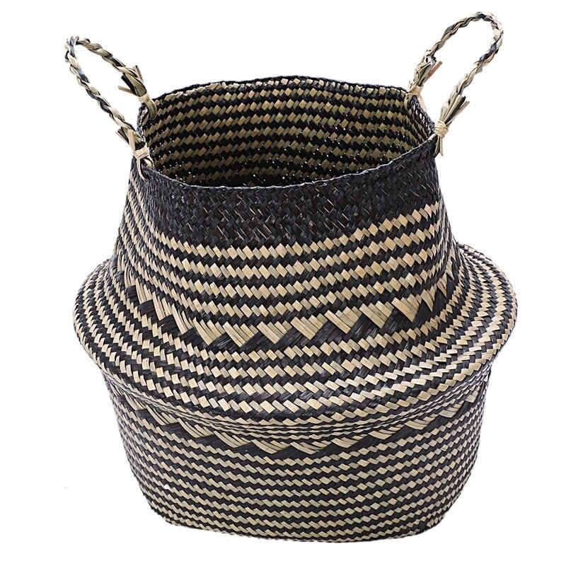 Foldable Seagrass Woven Storage Baskets Wicker Rattan Basket Home Decoration Garden Flower Vase Hanging Baskets