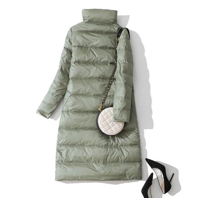 2019 Women Winter Coat Stand Collar White Duck Down Inner Women Light Long Jacket Coat Women Coat Casaco Feminino Parkas 6