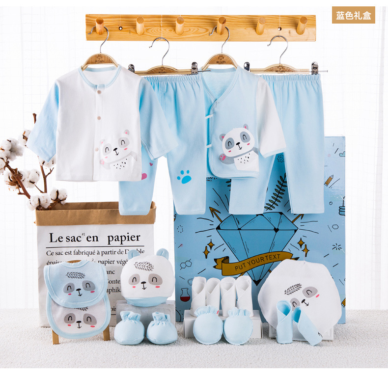 18 Piece/lot Newborn Baby Gift Set Combed Cotton Clothes Infant Girl Rompers Pure Suits Soft Autumn Boys Clothing Without Box