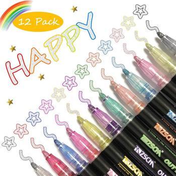 12 Colors Metallic Marker Outline Pen Glitter Colorful DIY Album Scrapbooking Marker Pen For Drawing Painting Christmas Doodling