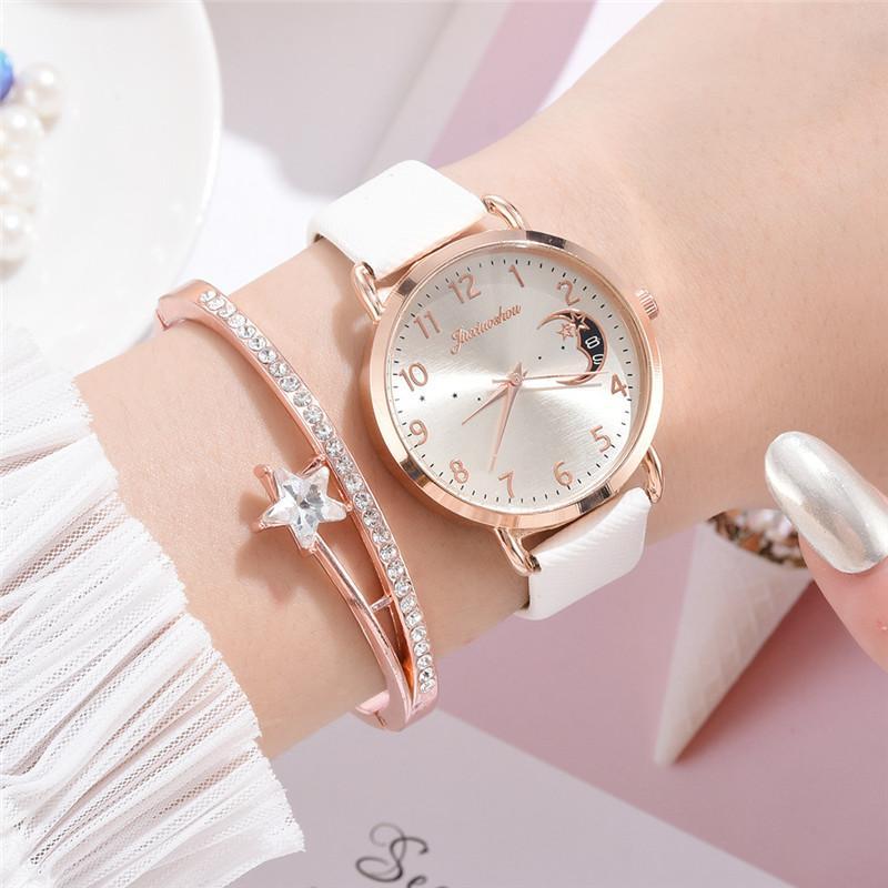 Women Fashion White Watch Quartz Leather Ladies Wristwatches 2019 New Brand Simple Number Dial Woman Clock Montre Femme 1