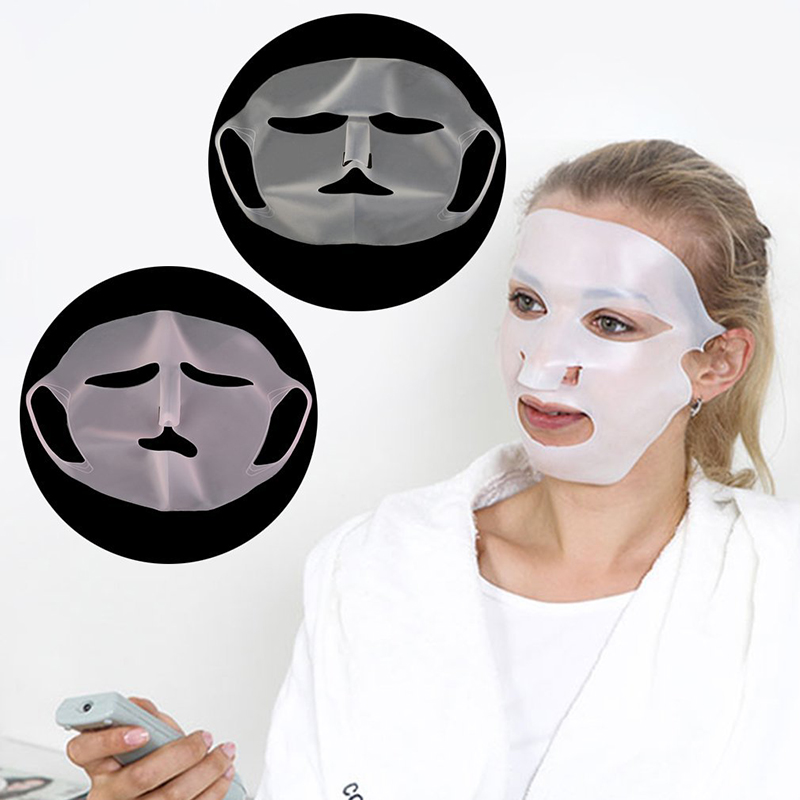 1pc Reusable Silicone Face Mask Cover Prevent Mask Essence Evaporation Speed Up Better Absorption Moisturizing Facial Mask Cover