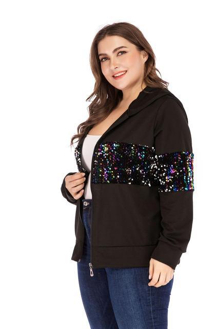 Sonbahar kış artı boyutu ceket kadınlar için büyük rahat gevşek uzun kollu pullu fermuar spor kısa palto siyah 4XL 5XL 6XL 7XL