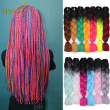 AISI Beauty 24 inch Jumbo Braids Hair Ombre Crochet Braid Synthetic Braiding Hair Extensions for Women Blonde Pink Brown Blue
