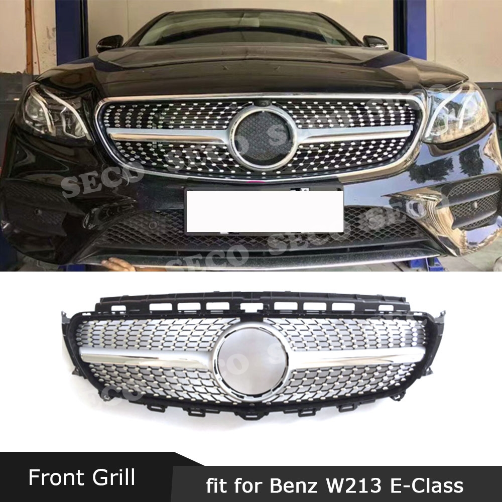 ABS Front Bumper Mesh Grill Facelift Cover For Benz E class W213 E300 E350 E400 2016-2019 Diamond style Grille Without sign image