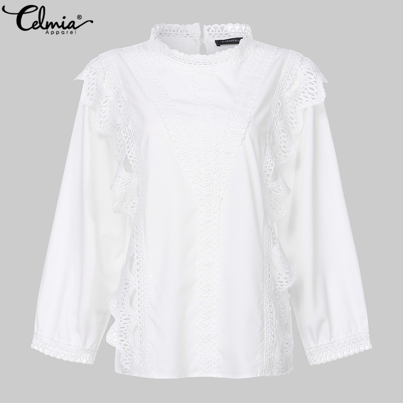 S-5XL Women Tops And Blouses 2020 Celmia Stylish Shirts Long Sleeve Casual White Lace Tunic Tops Loose Ruffles Blusas Mujer 7